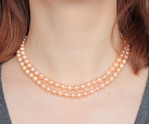 Double Strand 6-6.5mm AA Pink Pearl Necklace