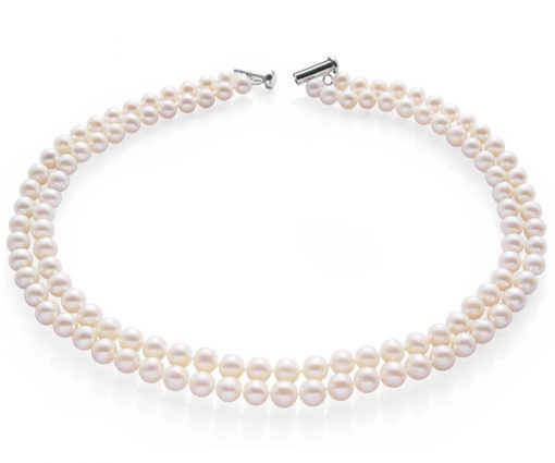 Double Strand 6-6.5mm AA  White Pearl Necklace