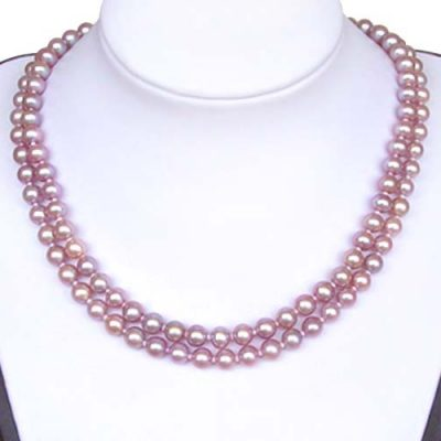 Double Strand 6-6.5mm AA  Mauve Pearl Necklace