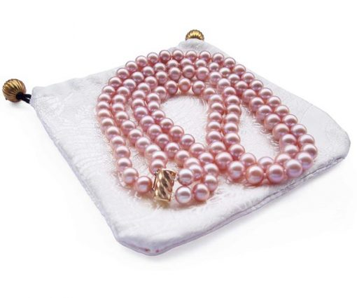 Double Strand 7-8mm AA+ Mauve Round Pearl Necklace