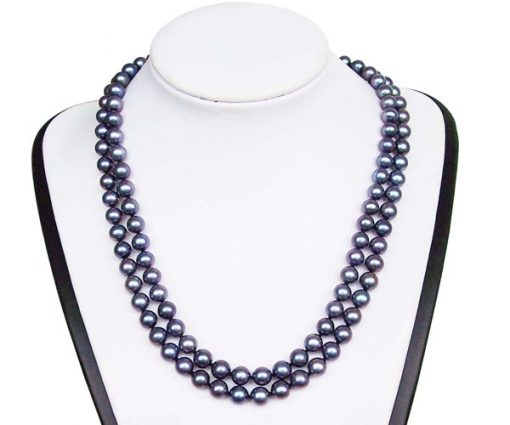 Double Strand 7-8mm AA+ Black Round Pearl Necklace