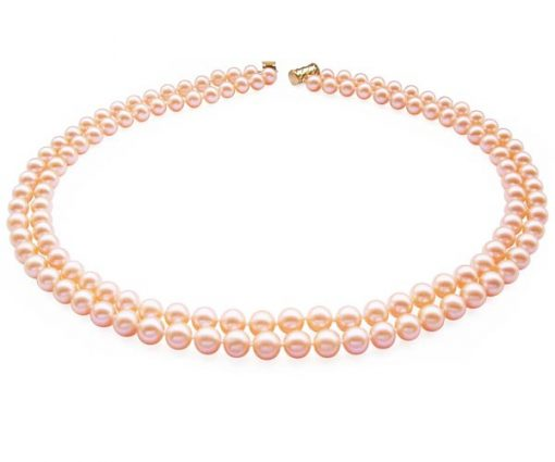 Double Strand 7-8mm AA+ Pink Round Pearl Necklace