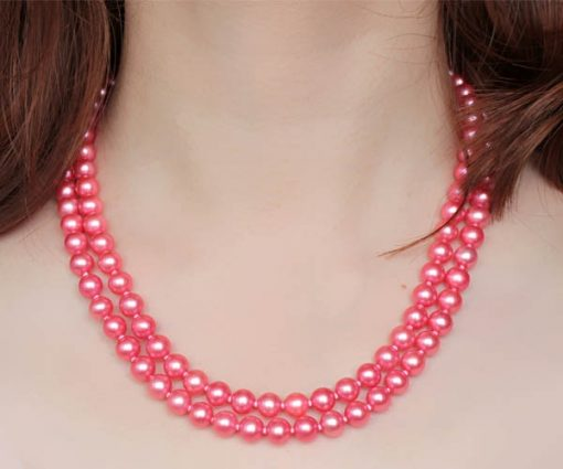 Double Strand 7-8mm AA+ Rose Pink Round Pearl Necklace