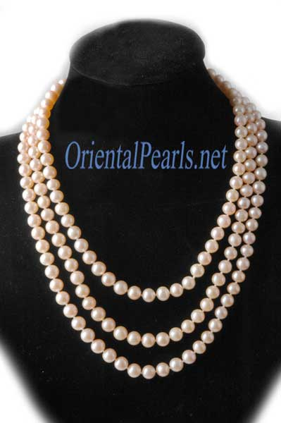 Three Rows Pink Pearl Necklace
