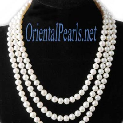 Three Rows White Pearl Necklace