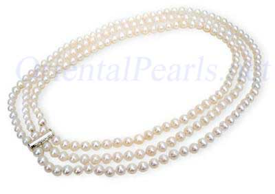 Three Strand White Pearl Necklace,925 Sterling silver clasp