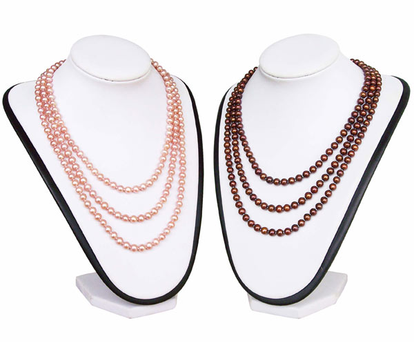 Three Strand White or Pink Pearl Necklace, 925 Sterling silver clasp