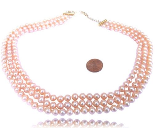 3 Row High Quality Pink Round Pearl Necklace Adjustable Length