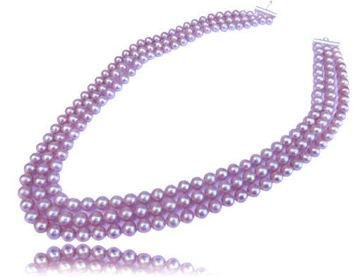 Mauve Colored 3 Strands Round Pearl Necklace