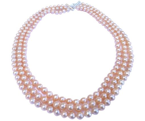 Pink Colored 3 Strands Round Pearl Necklace