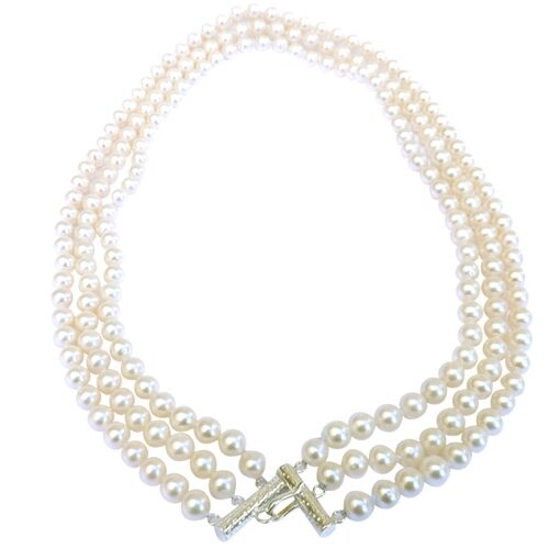 High Quality White 3 Strands Round Pearl Necklace