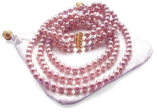 3-Row 6-7mm Mauve Round Pearl Necklace