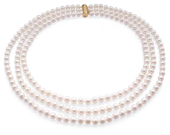 3-Row 6-7mm White Round Pearl Necklace