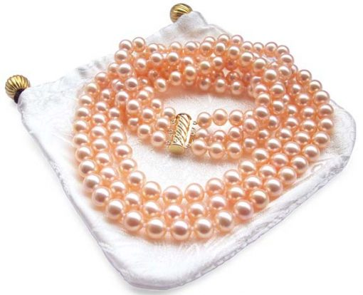 3-Row 7-8mm AAA Gem Quality Pink Round Pearl Necklace