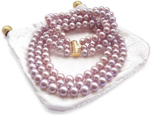 3-Row 7-8mm AAA Gem Quality Mauve Round Pearl Necklace