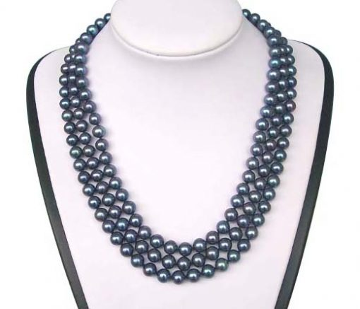 3-Row 7-8mm AAA Gem Quality Black Round Pearl Necklace