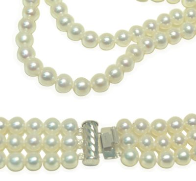 3-Row 7-8mm AAA Gem Quality White Round Pearl Necklace