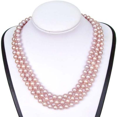 3-Row 7-8mm Round AA+ Mauve Round Pearl Necklace