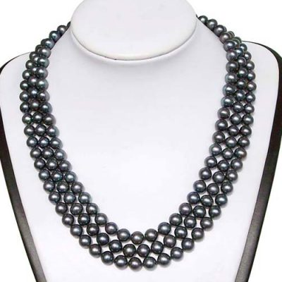 3-Row 7-8mm AA+ Quality White Round Pearl Necklace