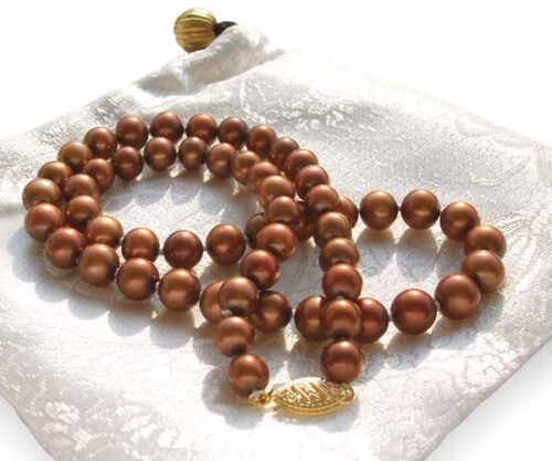 Chocolate 7-7.5mm High AA+ Quality Round Pearl Necklace, 14K Solid YG Clasp