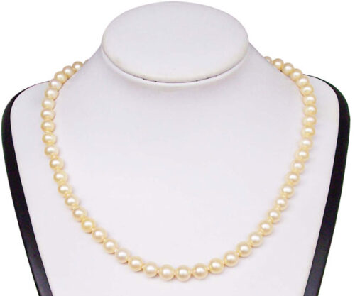 White (pinkish overtone) 7-7.5mm High AA+ Quality Round Pearl Necklace, 14K Solid YG Clasp