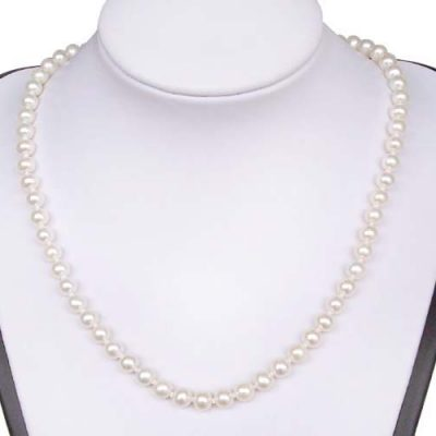 White 6-7mm Round Pearl Silver Necklace