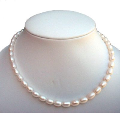 White Rice or Drop Pearl Necklace 14K Gold