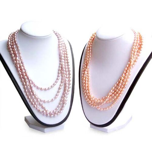 Pink and Mauve 5-6mm Rice Pearl 100inch Claspless Necklace