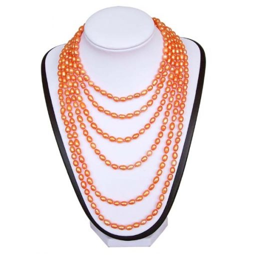 Pink 5-6mm Rice Pearl 100inch Claspless Necklace