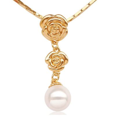 White 12mm SSS Pearl Pendant in Double Rose Design, 18K YG Overlay