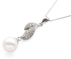 White 10mm SSS Pearl Pendant , Free 16in Silver Chain