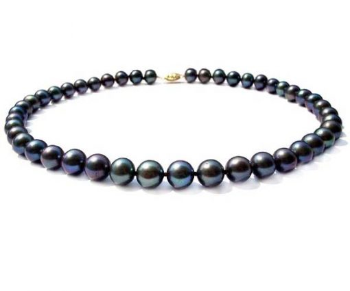 9-10mm AA Black round pearl necklace in 14k solid gold