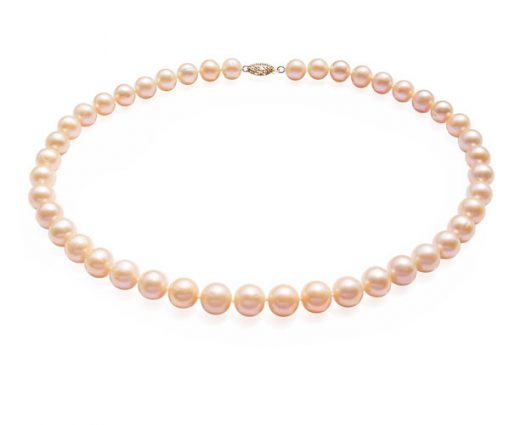 9-10mm Pink round pearl necklace in 14k gold