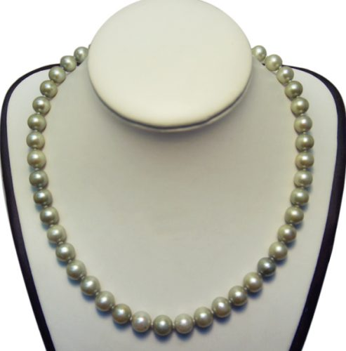 9-10mm Grey round pearl necklace in 14k gold