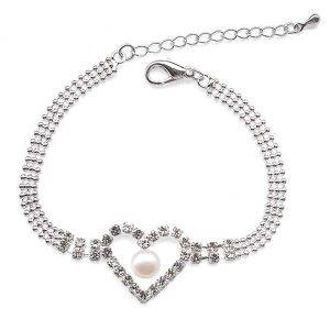 White 6-7mm Hollow Heart Designer Pearl Bracelet with Cz Diamonds, Adjustable