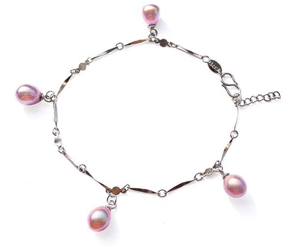 Mauve 4 Genuine Drop Pearls Silver Bracelet with a S-hook Clasp