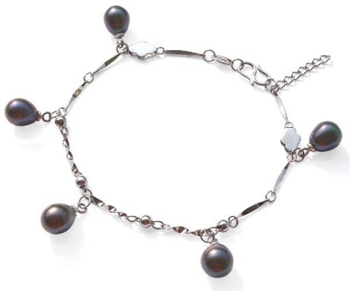 Black 5 Genuine Drop Pearls Bracelet in 925 SS