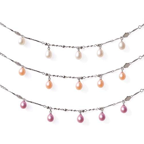 White, Pink and Mauve 5 Genuine Drop Pearls Bracelet in 925 SS