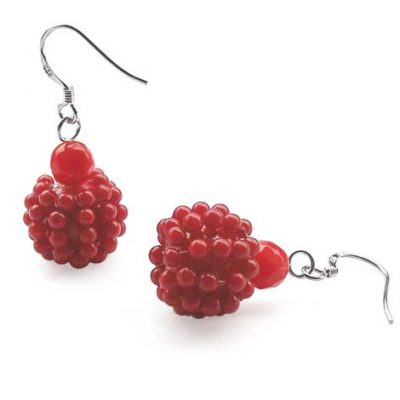 Red Cluster Coral Earrings in 925 SS