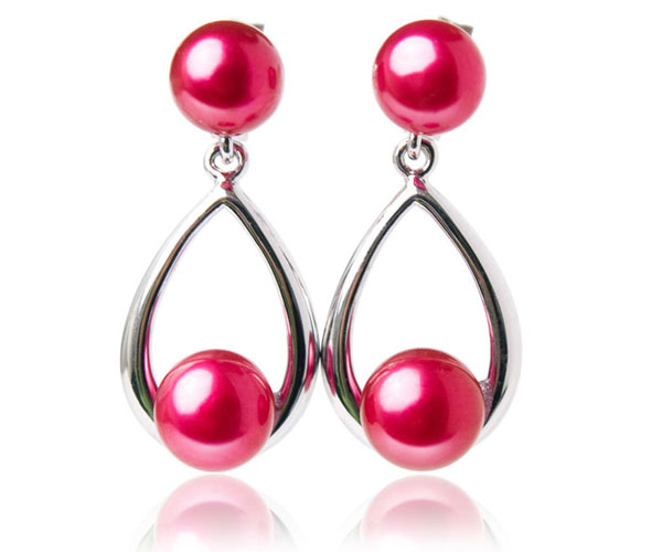 Cranberry 6-7mm Dangle Pearl Earrings, 18K WG Overlay