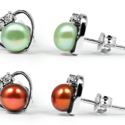Light Green and Red 6-7mm Pearl Earrings in Heart Shaped Design, 18K WG Overlay