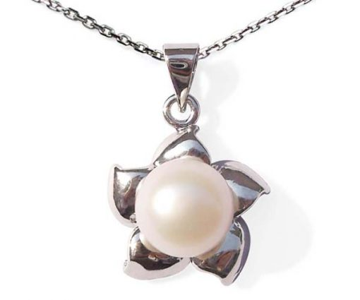 White 9-10mm Pearl Pendant in Star Shaped Setting, 16in Silver Chain
