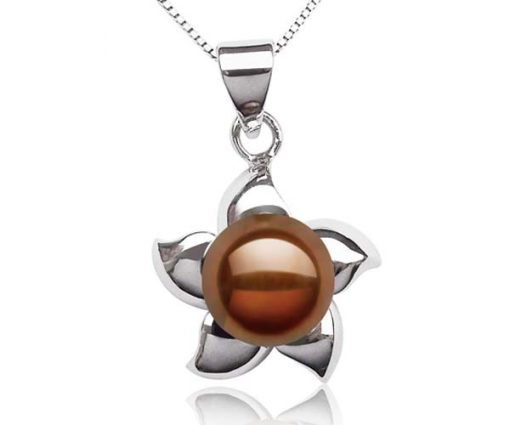 Chocolate 9-10mm Pearl Pendant in Star Shaped Setting, 16in Silver Chain