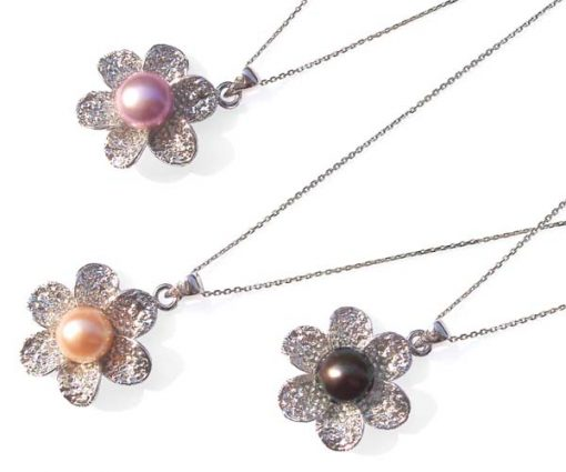 Pink, Mauve and Black Large 10mm Genuine Pearl Pendant and Flower Shaped Setting with 16in Silver Chain