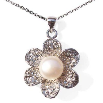 White Large 10mm Genuine Pearl Pendant and Flower Shaped Setting with 16in Silver Chain