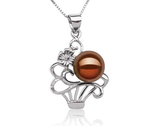 Chocolate Large 9-10mm Pearl Pendant in Flower Basket Design, FREE 16in Silver Chain