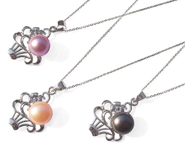 Pink, Mauve and Black 9-10mm Pearl Pendant in Flower Basket Design, FREE 16in Silver Chain