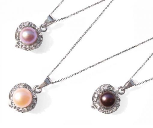 Mauve, Pink and Black 7mm Pearl Pendant with Tiny Cz Diamonds, 16in Silver Chain