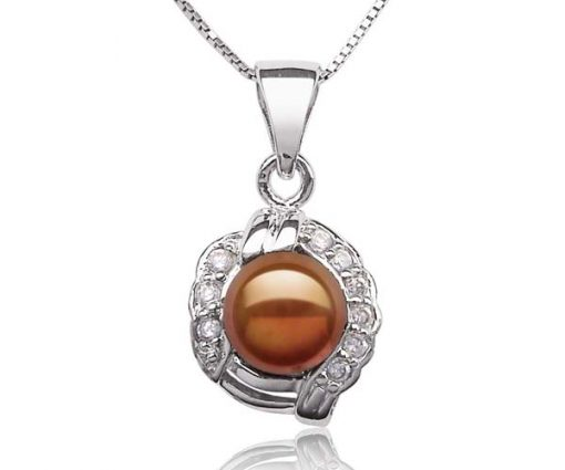 Chocolate 7mm Pearl Pendant with Tiny Cz Diamonds, 16in Silver Chain