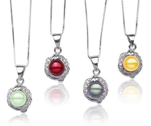 Light Green, Cranberry,  Grey, and Gold 7mm Pearl Pendant with Tiny Cz Diamonds, 16in Silver Chain